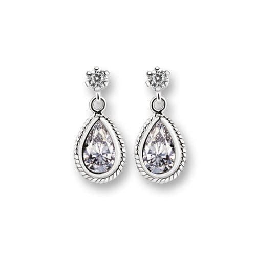 Newbridge Silverware Drop Earrings Clear Stones