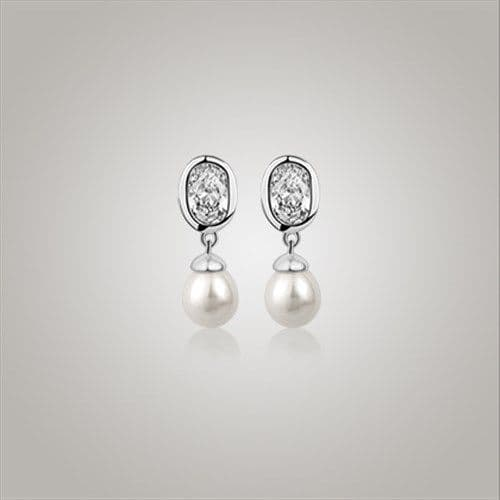 Newbridge Silverware Grace Kelly Drop Pearl Earrings with Clear Stone