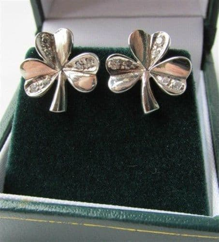 shamrock Earrings Sterling Silver CZ