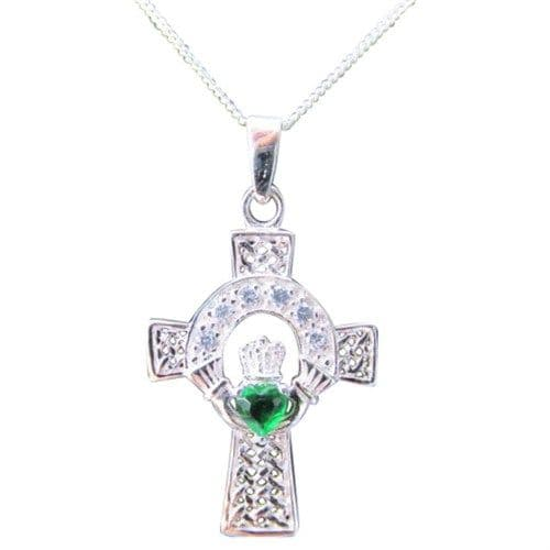 Sterling Silver Celtic Cross Claddagh Pendant with Emerald Green CZ Stones