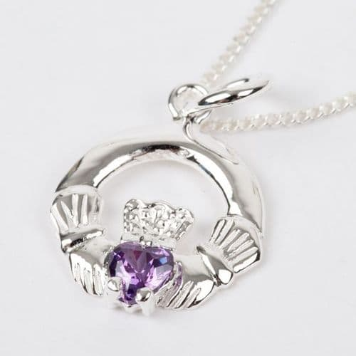 Sterling Silver Claddagh Birthstone Pendant with Amethyst CZ