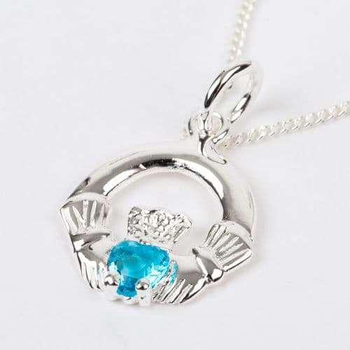 Sterling Silver Claddagh Birthstone Pendant with Aquamarine CZ