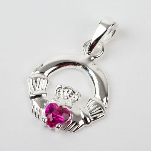 Sterling Silver Claddagh Birthstone Pendant with Ruby CZ
