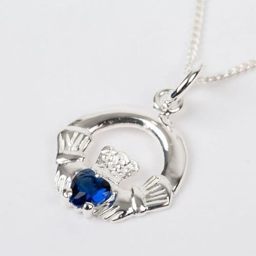 Sterling Silver Claddagh Birthstone Pendant with Sapphire CZ