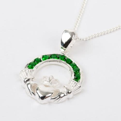 Sterling Silver Claddagh Pendant with Emerald Green CZ Stones