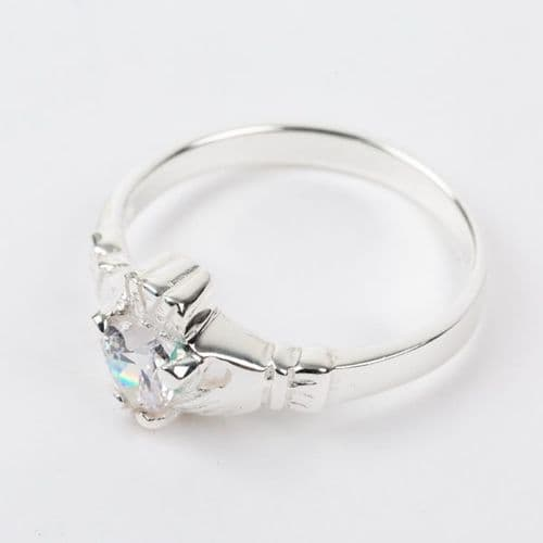 Sterling Silver Claddagh Ring Birthstone for April