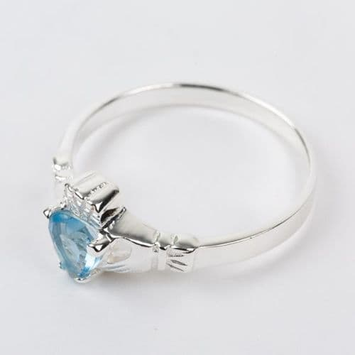 Sterling Silver Claddagh Ring Birthstone for December