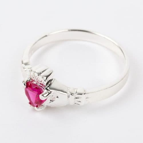 Sterling Silver Claddagh Ring Birthstone for July