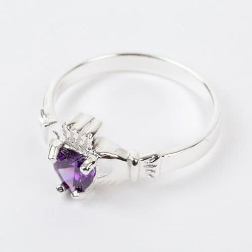 Sterling Silver Claddagh Ring Birthstone forJune