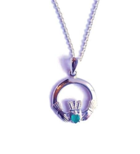 Sterling Silver Emerald Claddagh Pendant Made In Ireland