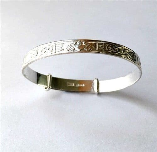 Sterling Silver Irish Claddagh Expandable Baby Bangle