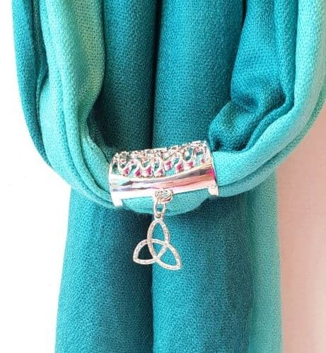 Taupe Pashmina wtih Celtic Design Scarf Ring