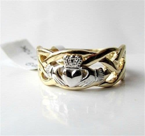 Two Tone Gold Gents Celtic Claddagh Ring