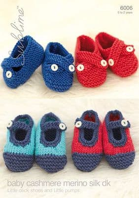 6006 - Little Red & Blue Deck Shoe &  Little Pumps in Blue and Red Knitting Pattern