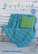 Hayfield Chunky with Wool - 8022 Throw and Cushion Cover Crochet Pattern
