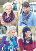 Hayfield Colour Rich Chunky - 7296 Snood, Scarf, Wrist warmers and Hat Knitting Pattern