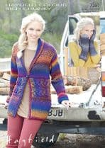 Hayfield Colour Rich Chunky - 7297 Jacket and Cable Mittens Knitting Pattern