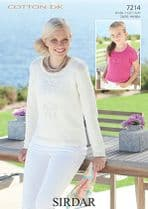 Sirdar Cotton DK Knitting Pattern - 7214 Woman's and Girl's Sweaters