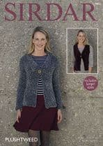 Sirdar Plushtweed - 7873 Jacket & Waistcoat Knitting Pattern