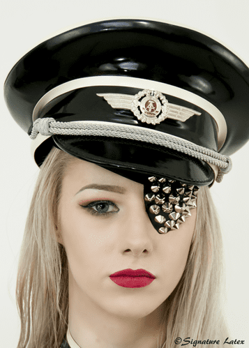 Latex Military Hat fully trimmed with chin strap and badge options