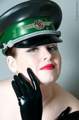 Latex Military twin colour cap with chin strap and badge