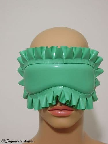 Latex padded blindfold with frill and latex tie back