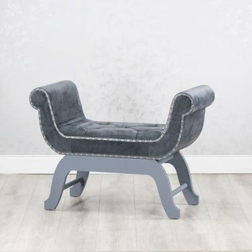 ***CLEARANCE 50% OFF *** CHARCOAL GREY MATTE VELVET UPHOLSTERED FABRIC LOVE SEAT CHAIR STOOL (GB227)
