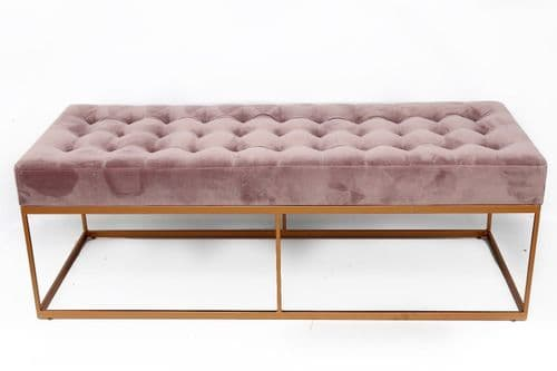 *** CLEARANCE *** PALE PINK VELVET BUTTONED BENCH SEAT WITH GOLD METAL BASE SWF2149