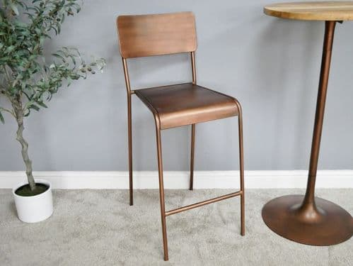 ***CLEARANCE*** RUSTIC INDUSTRIAL ANTIQUE COPPER METAL BAR STOOL (DX6312)