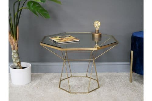 ANTIQUE GOLD METAL GEOMETRIC COFFEE SIDE END LAMP SOFA TABLE