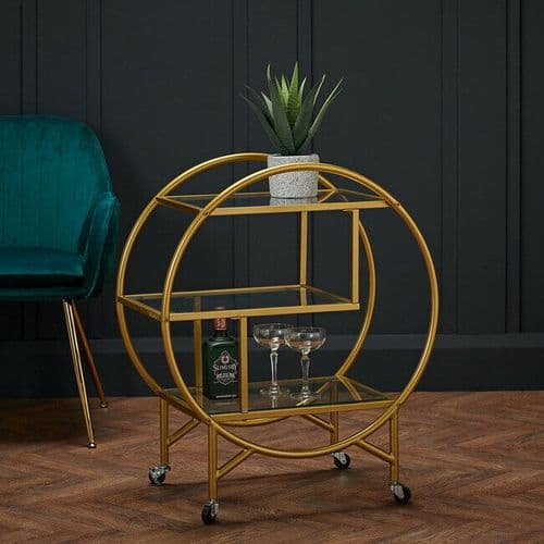 ANTIQUE GOLD METAL GLASS DRINKS SERVING TROLLEY ROUND SIDE END TABLE