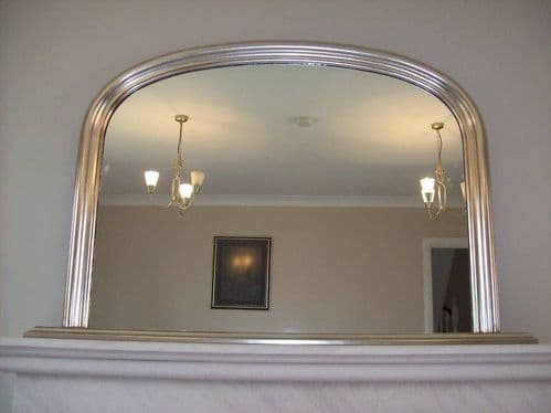"""ANTIQUE SILVER ARCHED OVERMANTLE MIRROR - Width 47"""" x Height 31"""" (120cm x 78cm)"""