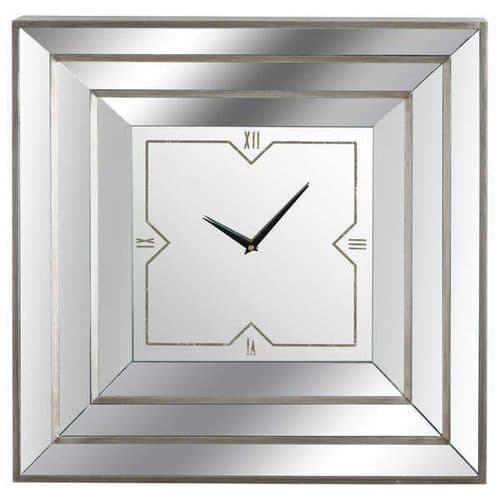 Antique Silver Gold Square Triple Bevelled Mirrored Wall Clock (H19938) 60cm