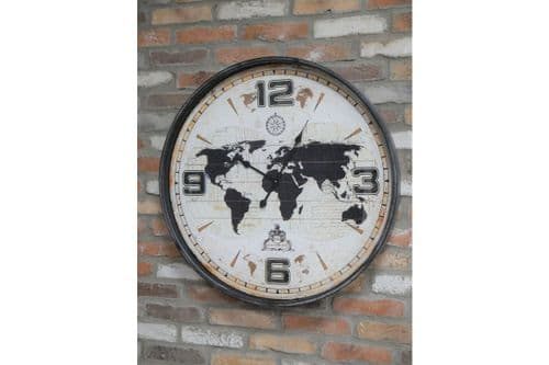 Antique Style Brown Black World Map Wall Clock (DX6630) 80cm