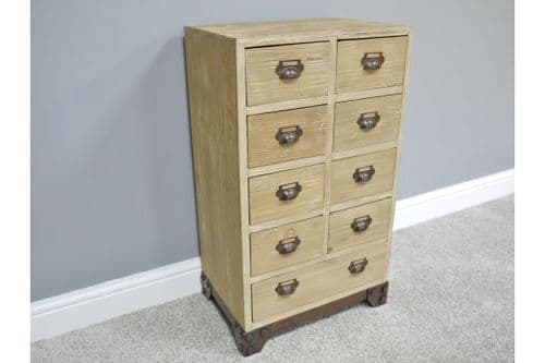 ANTIQUE STYLE RUSTIC COUNTRY DISTRESSED WOODEN SLIM CHEST DRAWERS (DX2957)