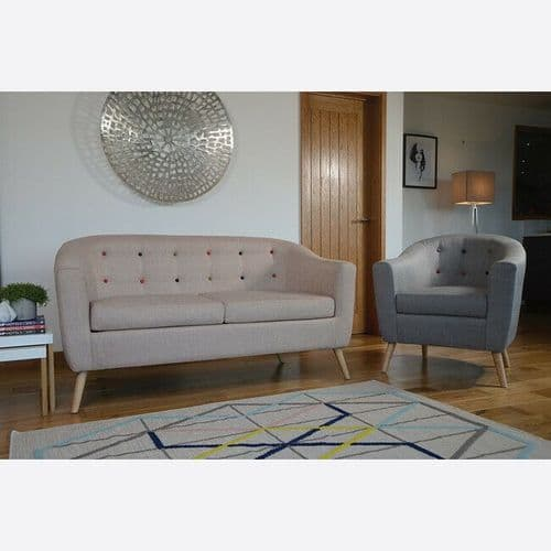 BEIGE LINEN CONTEMPORARY BUTTONED LOUNGE ACCENT SOFA WITH WOODEN LEGS 2 SEATER
