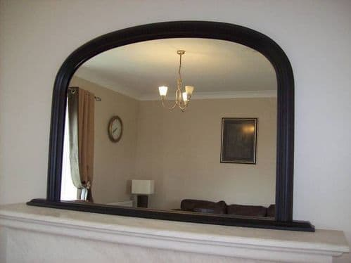 """BLACK ARCHED OVERMANTLE MIRROR - Width 47"""" x Height 31"""" (120cm x 78cm)"""