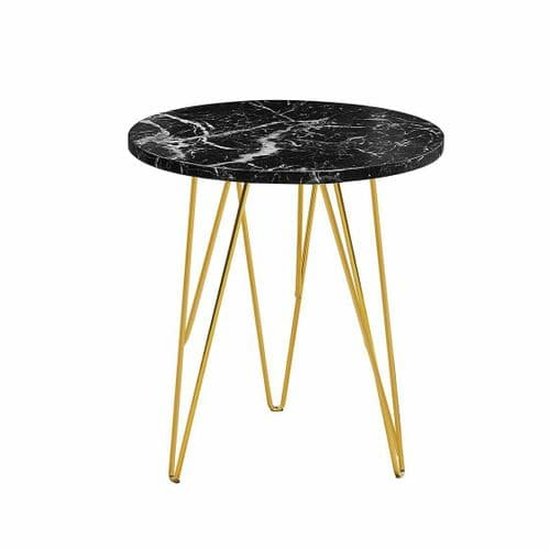 BLACK MARBLE EFFECT TOP ROUND SIDE LAMP END COFFEE TABLE WITH GOLD METAL LEGS