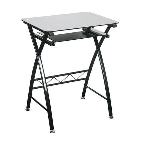 BLACK SILVER METAL SMALL OFFICE STUDY COMPUTER DESK WITH GLASS TOP