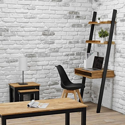 BLACK SOLID OILED OAK WOODEN LEAN TO LADDER SHELVING DESK UNIT BOOK SHELF