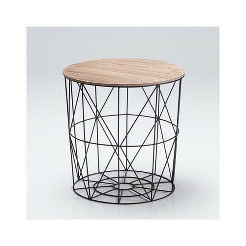 BLACK WIRE CAGE BASKET STORAGE COFFEE END LAMP SIDE TABLE OAK FINISH LID TOP