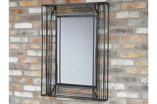 CONTEMPORARY BLACK METAL FRAME WALL MIRROR (DX6496)
