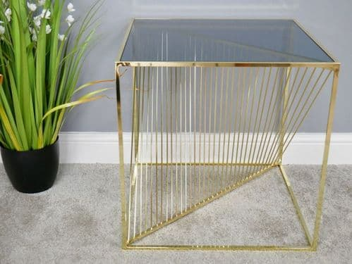 CONTEMPORARY METALLIC GOLD METAL SQUARE SIDE END LAMP COFFEE TABLE (DX6374)