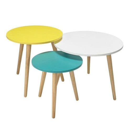 CONTEMPORARY NEST SET 3 SIDE COFFEE TABLES WITH PASTEL YELLOW GREEN WHITE TOPS