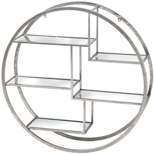 CONTEMPORARY SILVER MIRRORED GLASS CIRCULAR WALL SHELF DISPLAY UNIT (H18772)