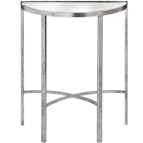 CONTEMPORARY SILVER MIRRORED GLASS HALF MOON HALL CONSOLE TABLE (H18771)