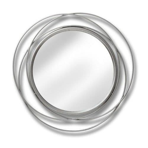 CONTEMPORARY SILVER ROUND GLASS CIRCULAR ABSTRACT WALL ART MIRROR  (H18774)
