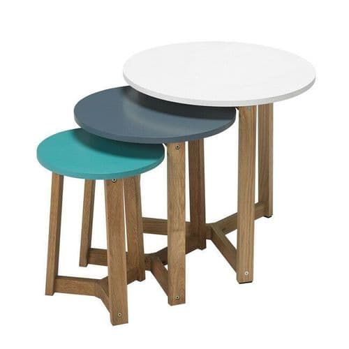 CONTEMPORARY SOLID OAK NEST SET OF 3 SIDE COFFEE TABLES WITH BLUE / WHITE TOPS