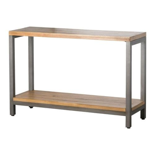 COUNTRY RUSTIC PINE SOLID WOOD IRON METAL CONSOLE HALL SIDE TABLE & SHELF H19532