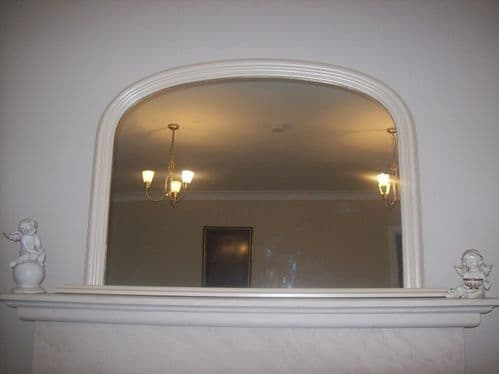 """CREAM ARCHED OVERMANTLE MIRROR - Width 47"""" x Height 31"""" (120cm x 78cm)"""